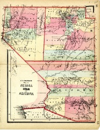 Map Of Arizona Utah.J H Colton S Map Of Nevada Utah And Arizona